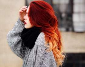 Омбр на руде волосся - довгі і короткі. Руде омбре на русяве, каштанове і інші кольори волосся фото