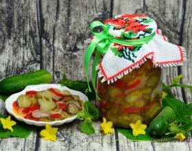 Салат з огірків, болгарського перцю і цибулі на зиму фото